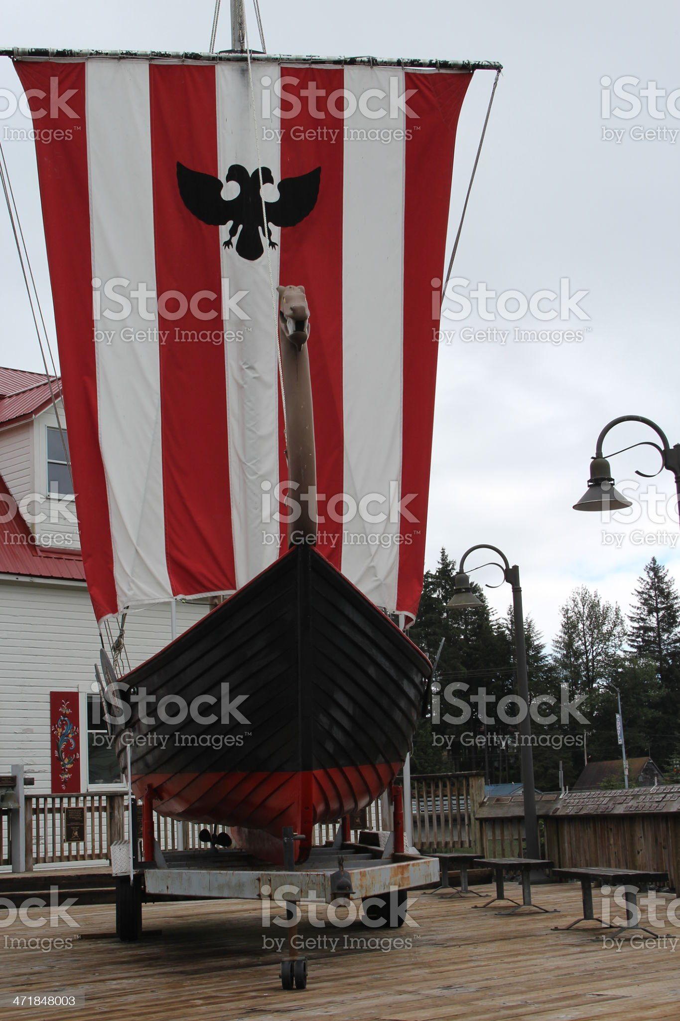 Replica Viking Ship at Petersburg Alaska royalty-free stock photo