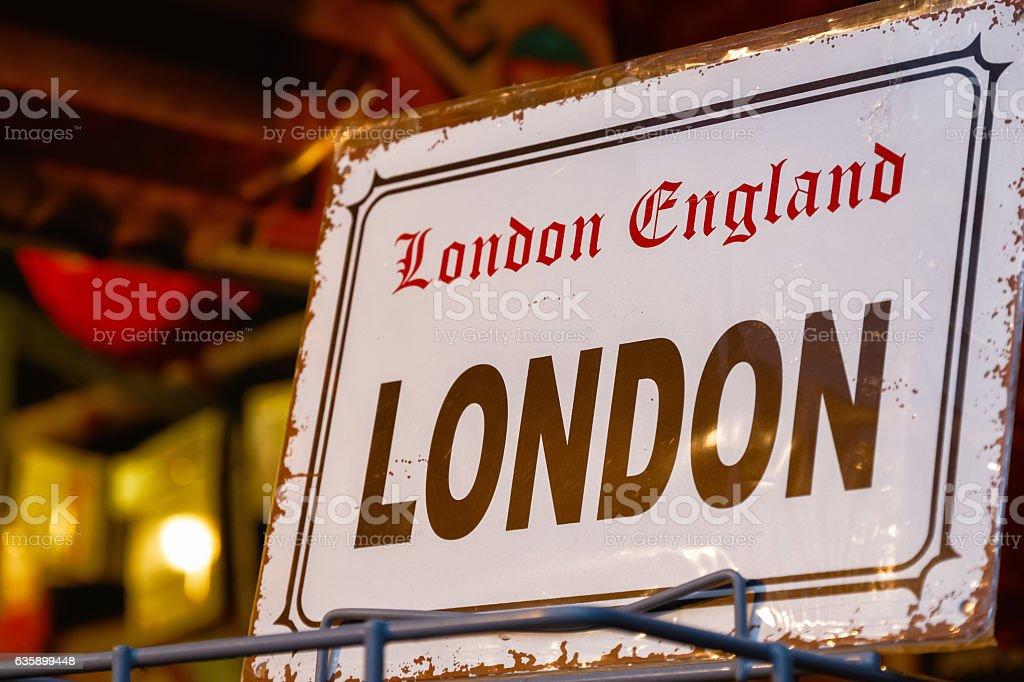 Replica Vintage London Street Sign stock photo