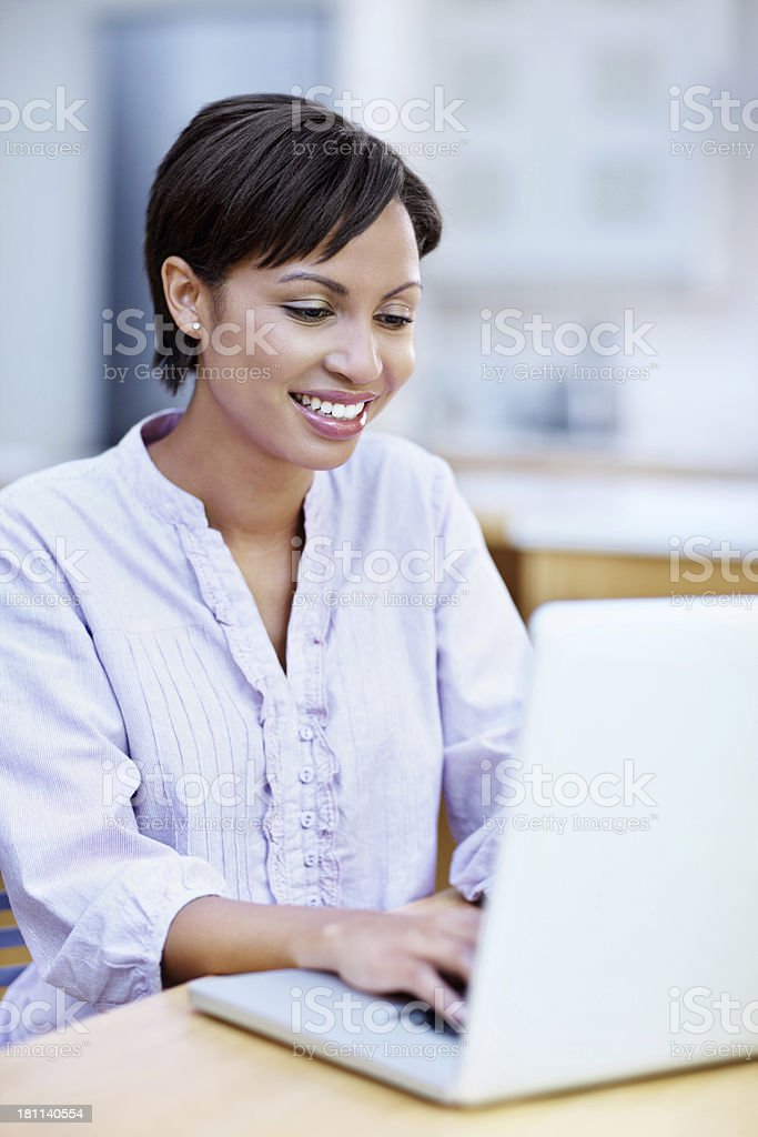 Replying to her emails royalty-free stock photo