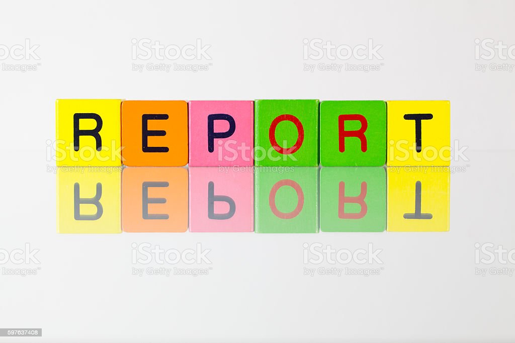 Report - an inscription from children's blocks stock photo