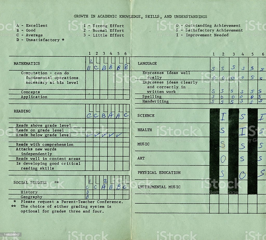 1971-72 Report Card stock photo