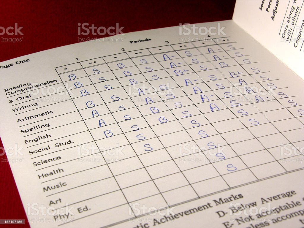 Report card subjects and grades royalty-free stock photo