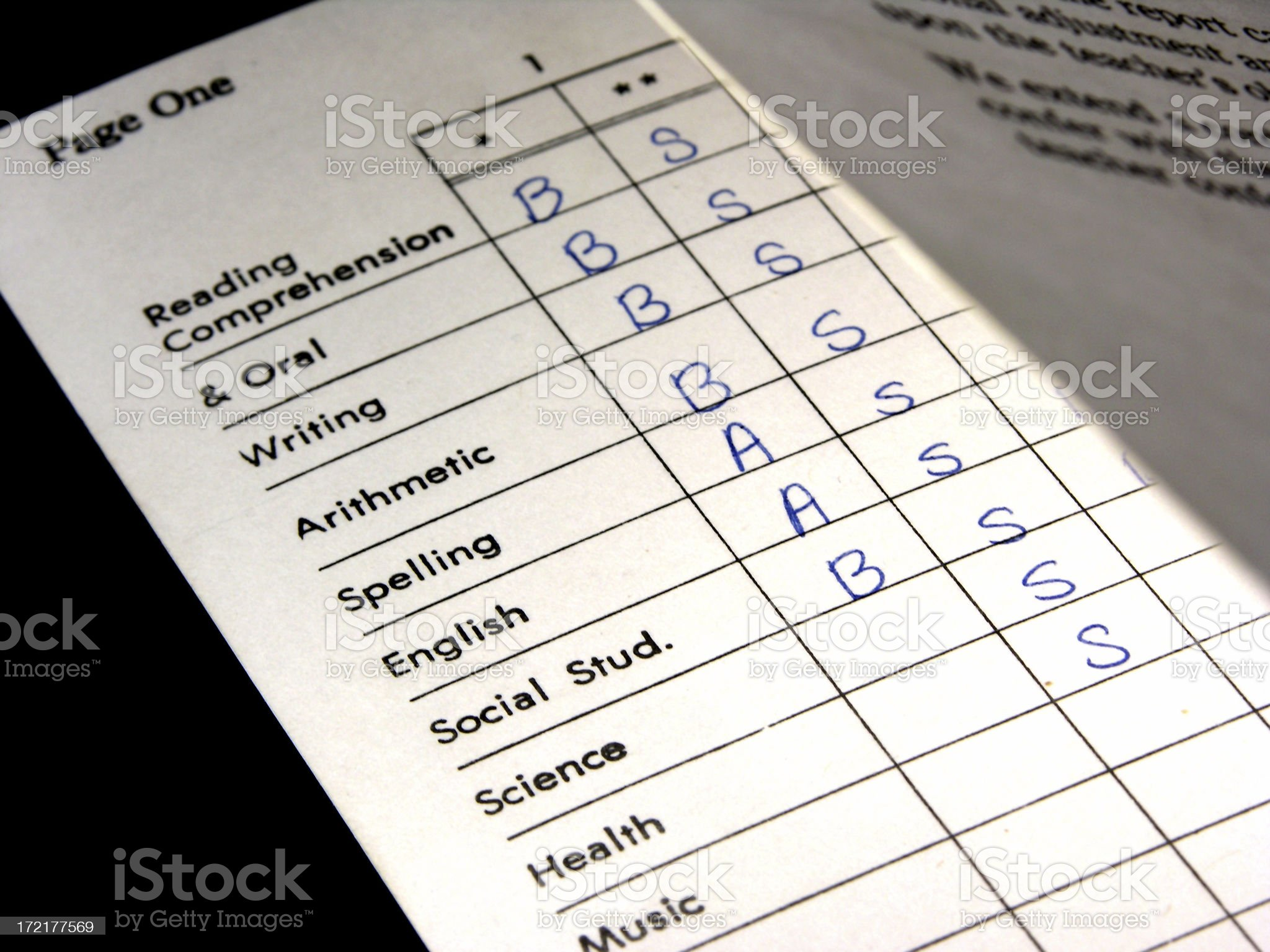 Report Card Subjects royalty-free stock photo