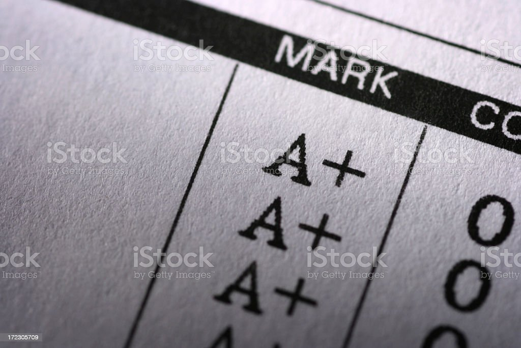 Report card with perfect grades royalty-free stock photo