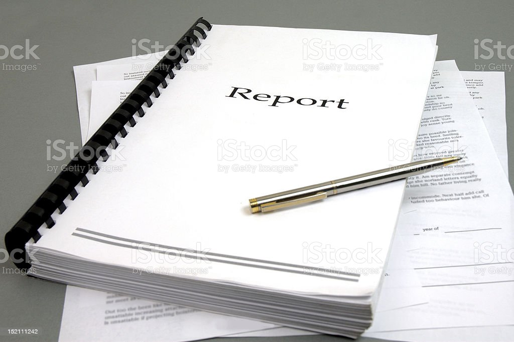 Report Document stock photo