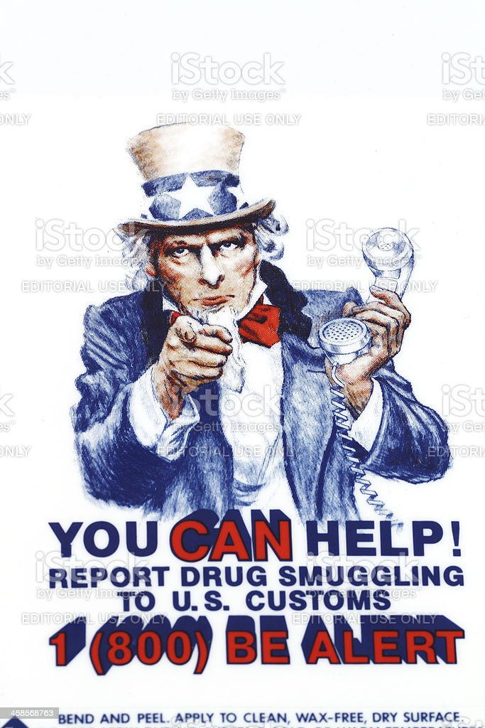 Report drug smuggling decal stock photo