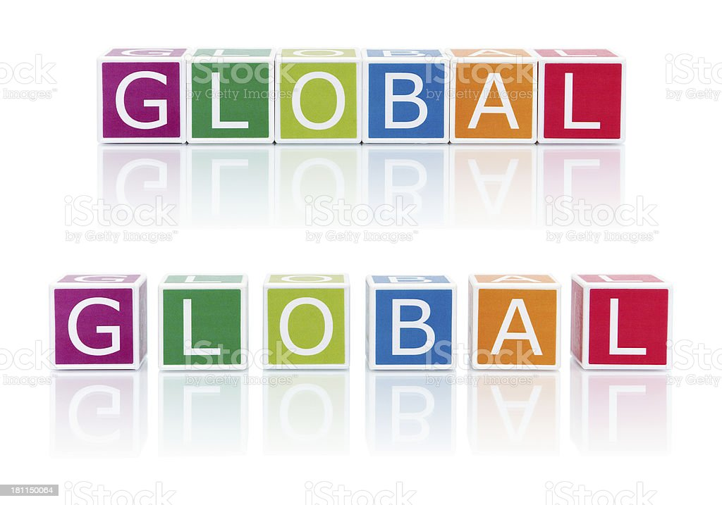 Report Topics With Color Blocks. Global. royalty-free stock photo