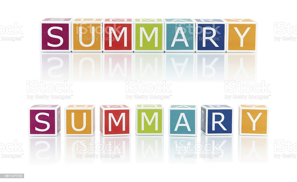 Report Topics With Color Blocks. Summary. royalty-free stock photo