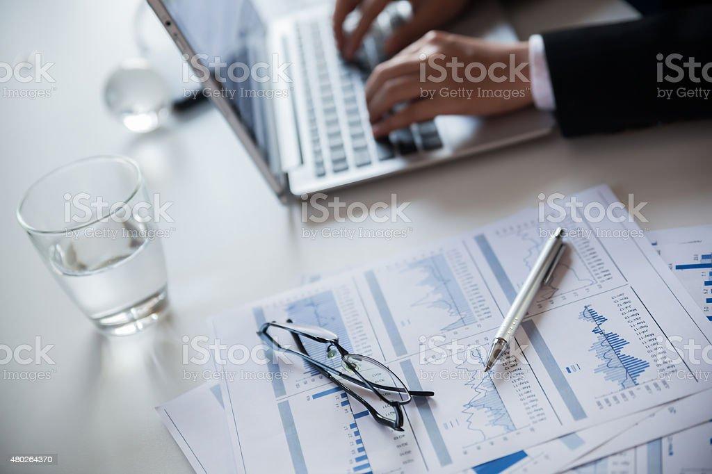 Reported profits. stock photo