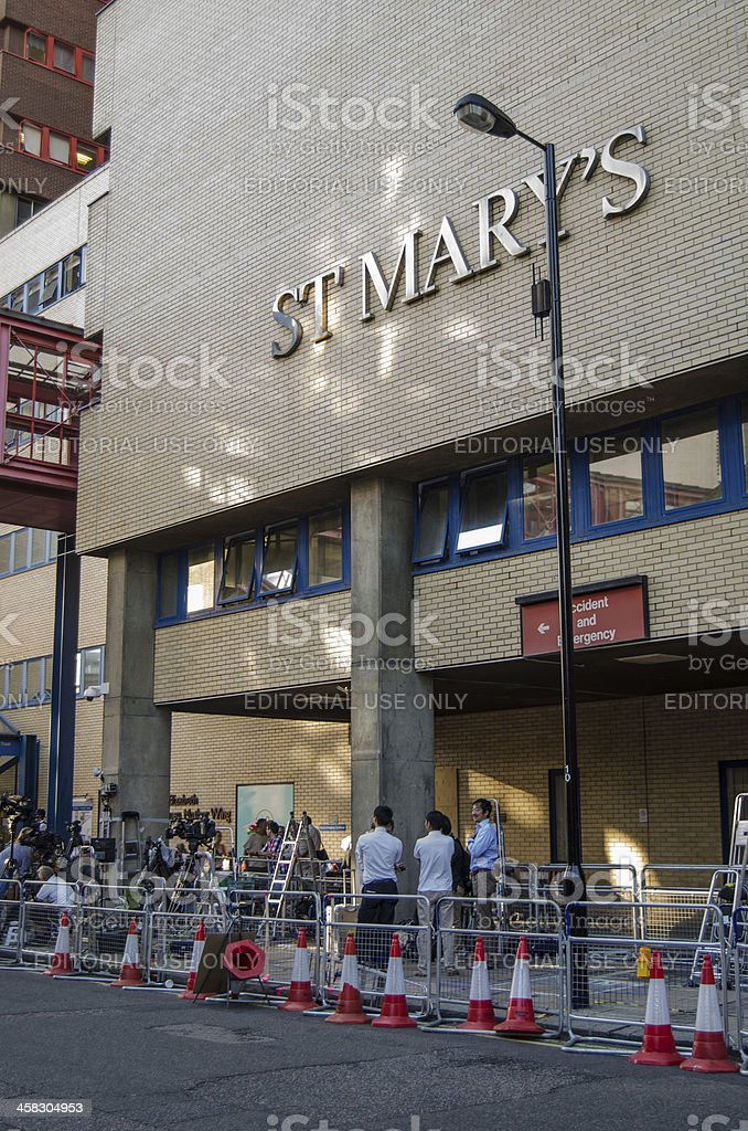 Reporters at St Mary's Hospital, London royalty-free stock photo