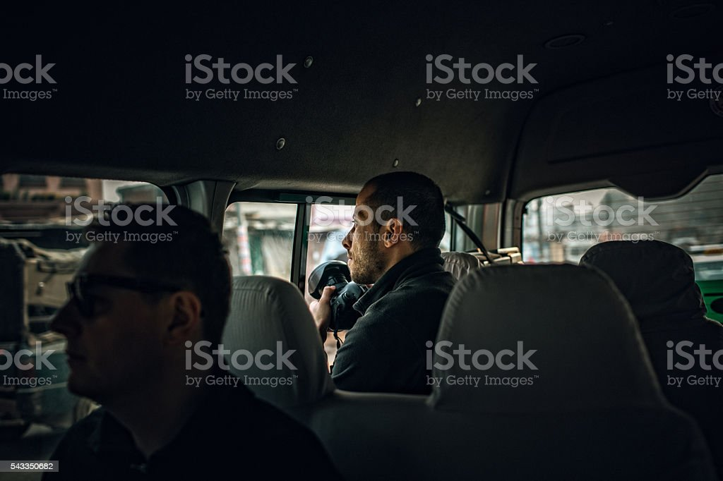 Reporters on a mission stock photo