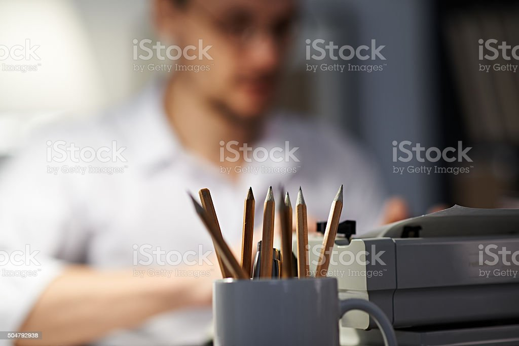Reporter's workplace stock photo