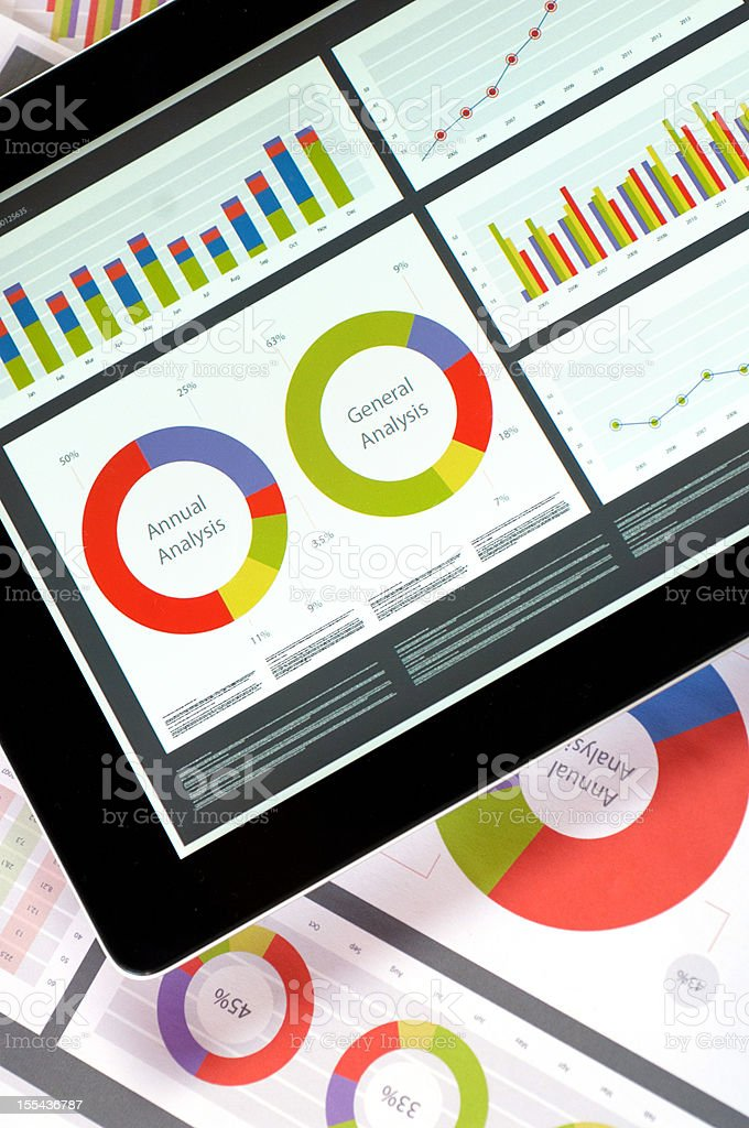 Reports on tablet and paper stock photo