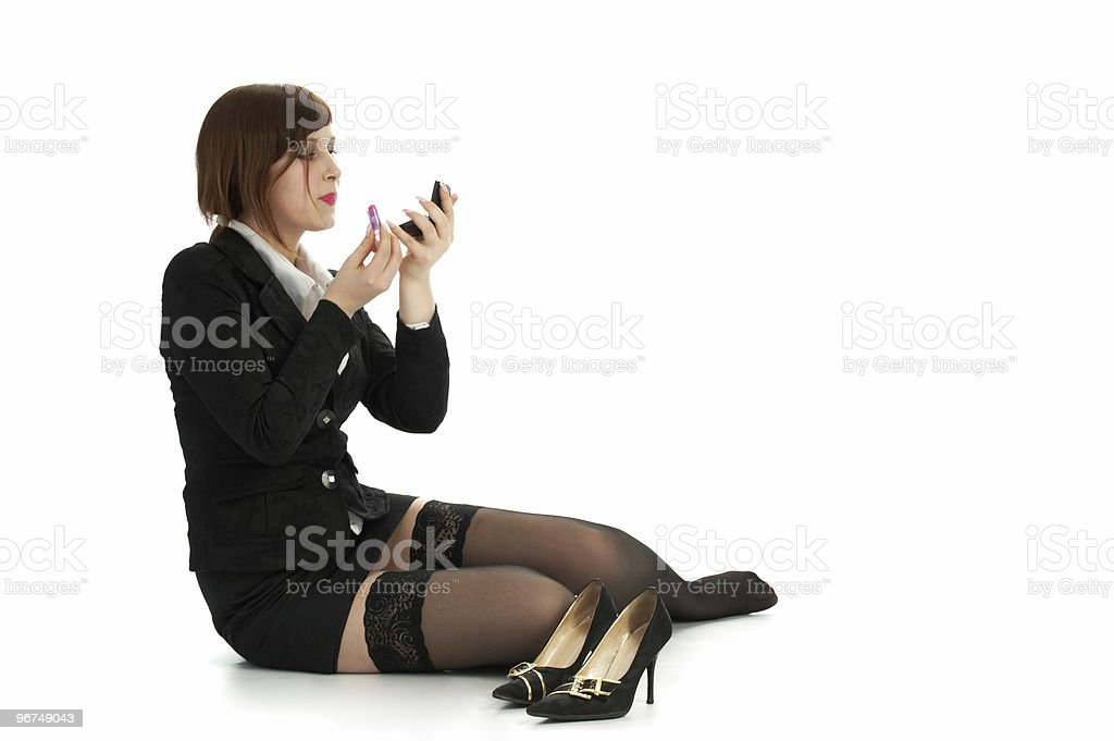 reposing business woman royalty-free stock photo
