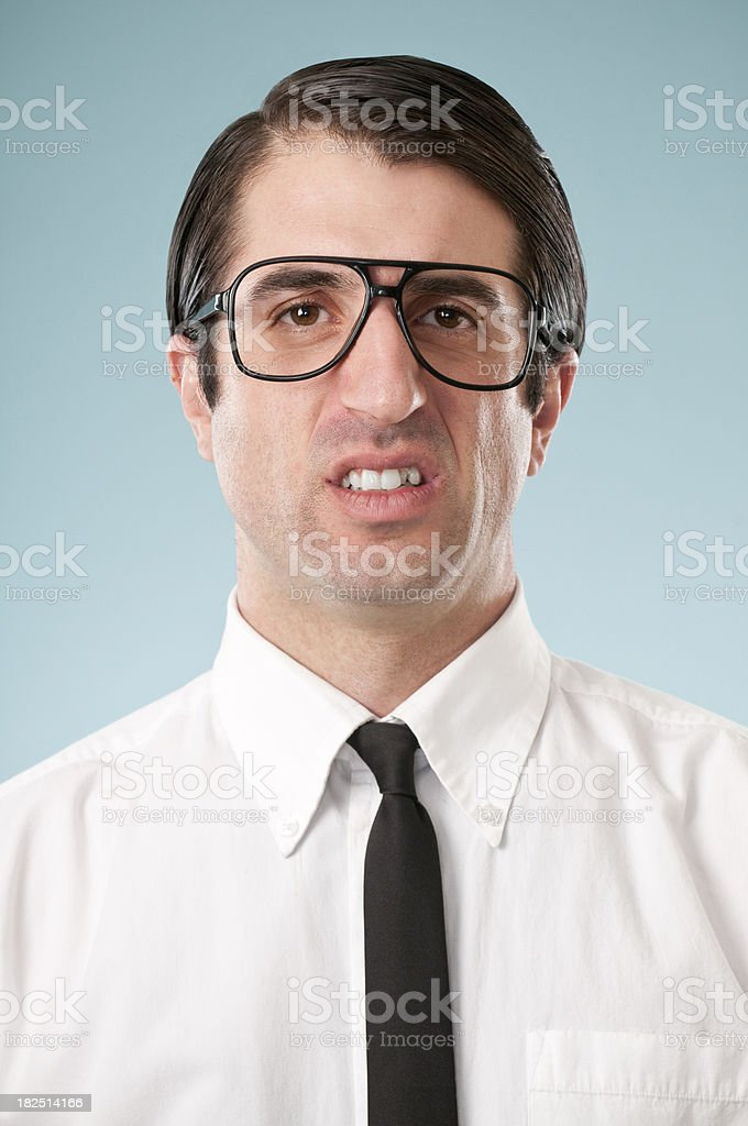 Reppulsed Nerdy Office Worker royalty-free stock photo