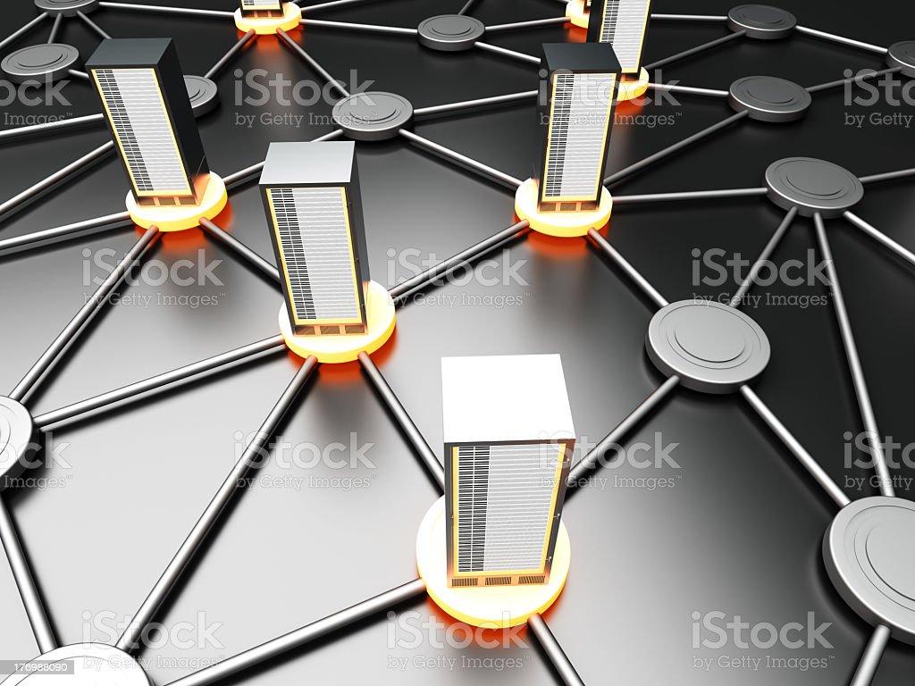 3D representation of server cloud connection stock photo