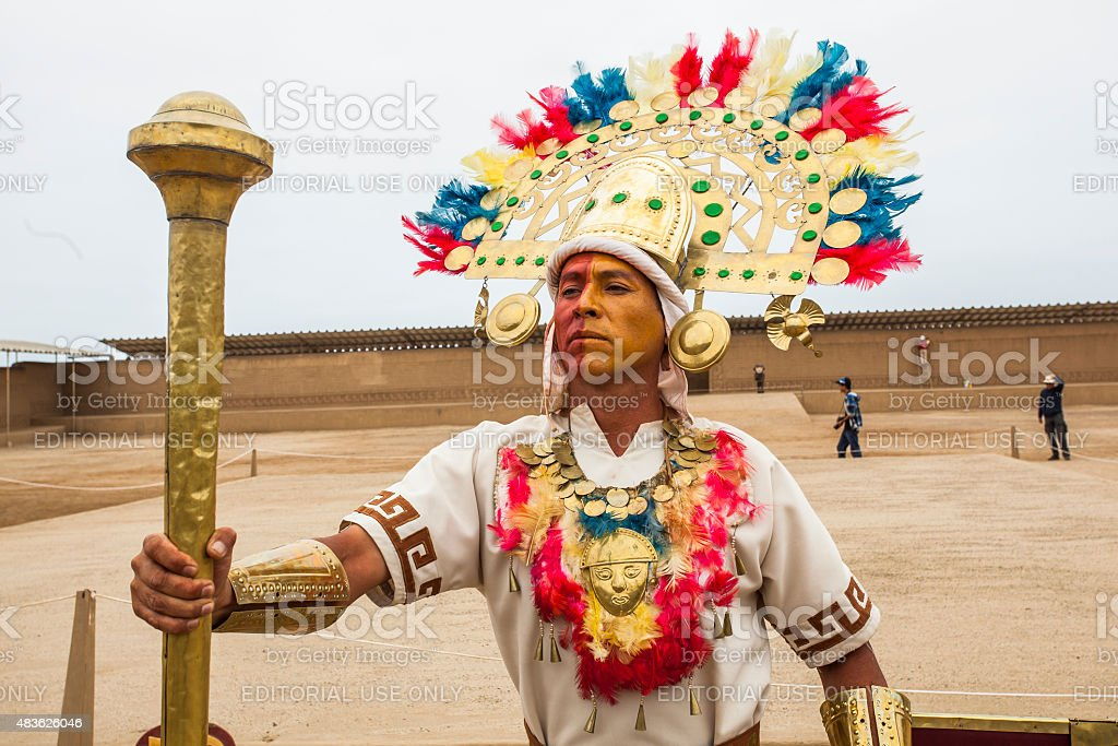 Representation of the great lord Chimu stock photo
