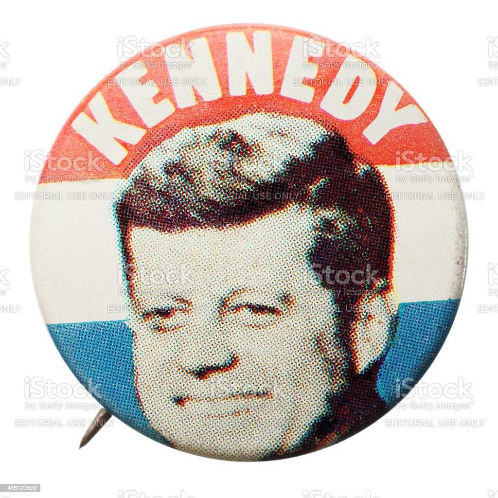 Reproduction J. F. Kennedy election pin. royalty-free stock photo
