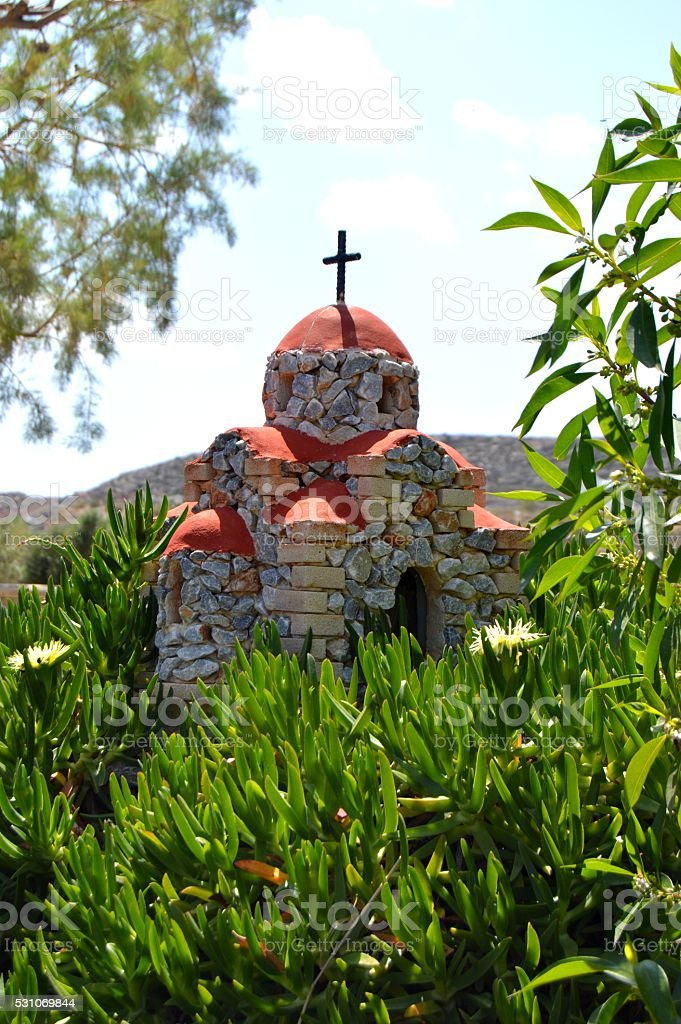 Reproduction of a church on a hillock. stock photo