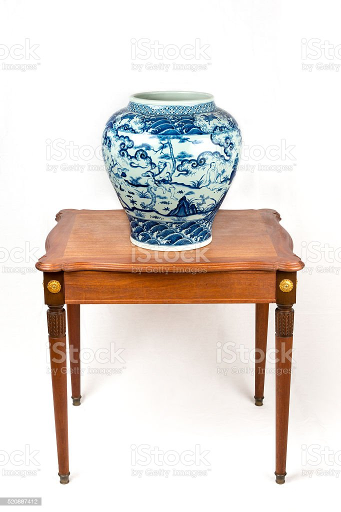 Reproduction of Chinese Blue and White porcelain jar stock photo
