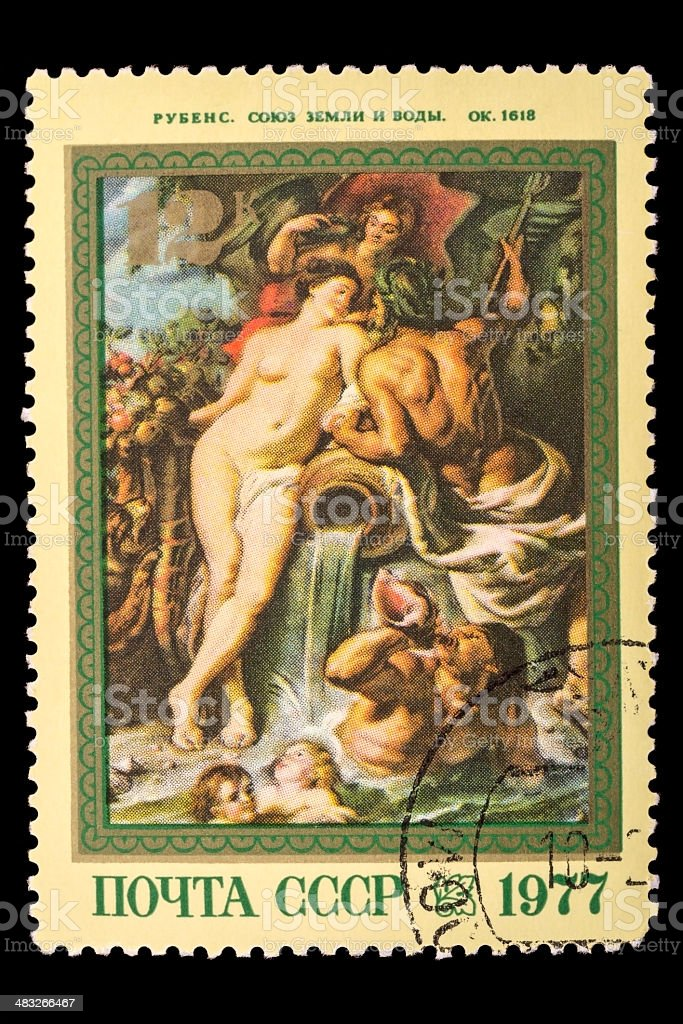 Reproduction of Rubens on postage stamp royalty-free stock photo