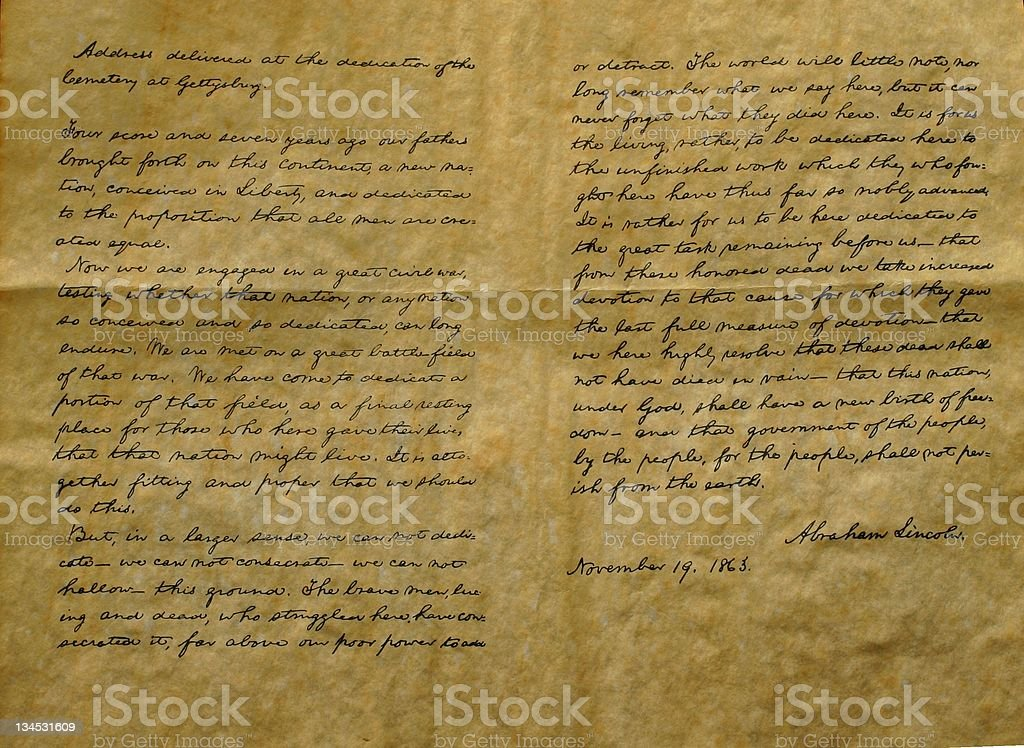 Reproduction of the Gettysburg Address stock photo