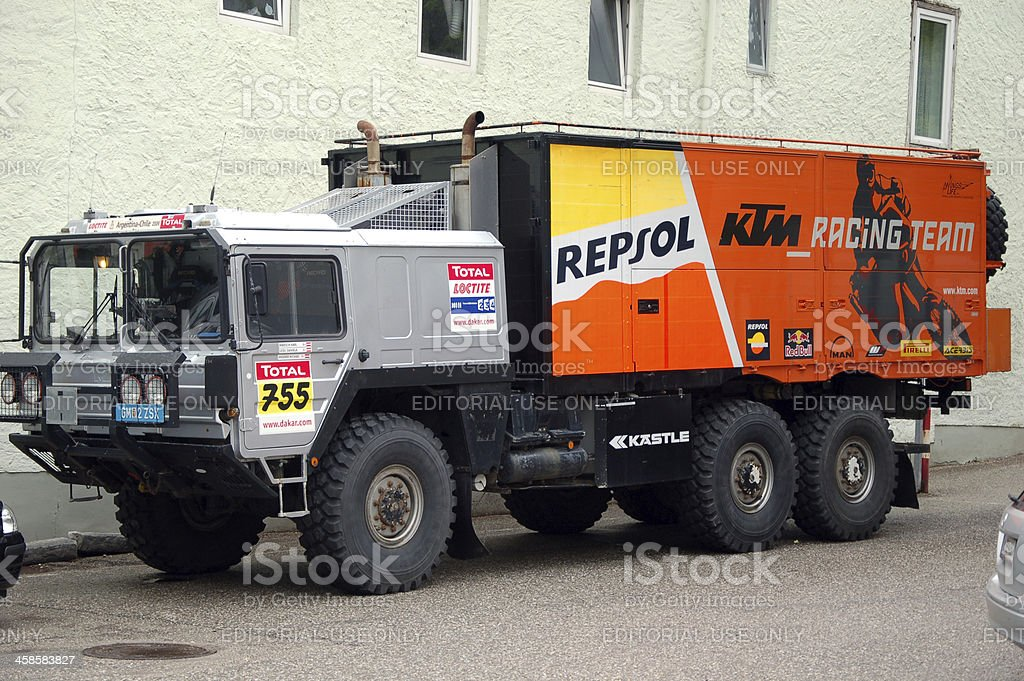 Repsol KTM racing team support truck MAN royalty-free stock photo