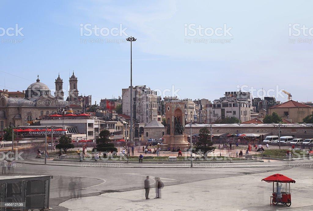 Republic Monument Taksim Square Istanbul stock photo
