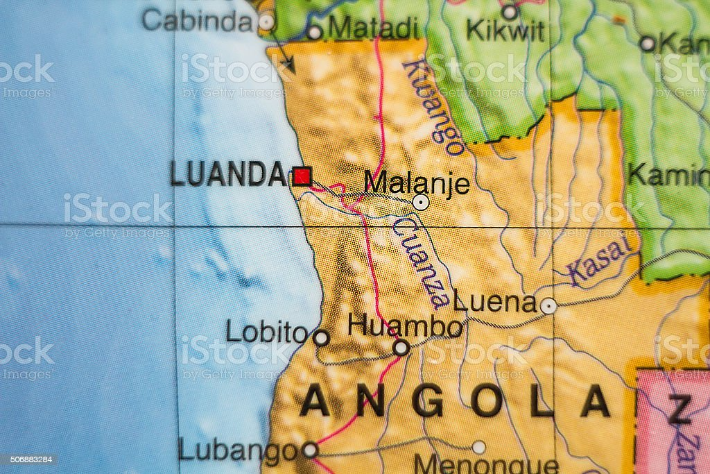 Republic of Angola country map . stock photo