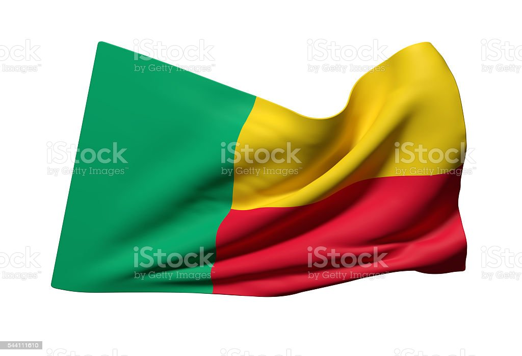 Republic of Benin flag waving stock photo
