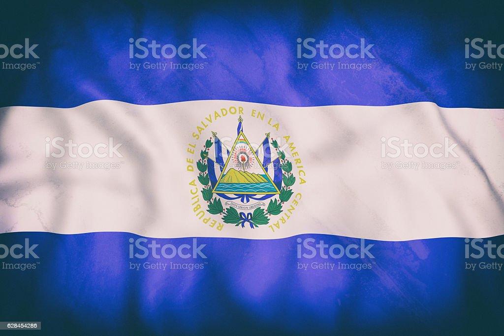 Republic of El Salvador flag waving stock photo
