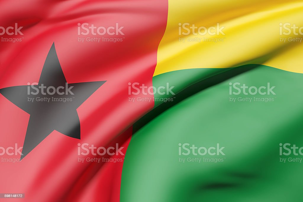 Republic of Guinea-Bissau flag waving stock photo
