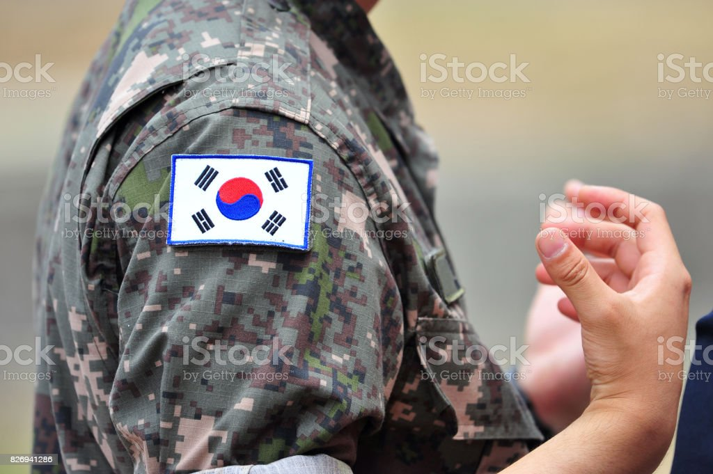 Republic of Korea army soldier and flag stock photo