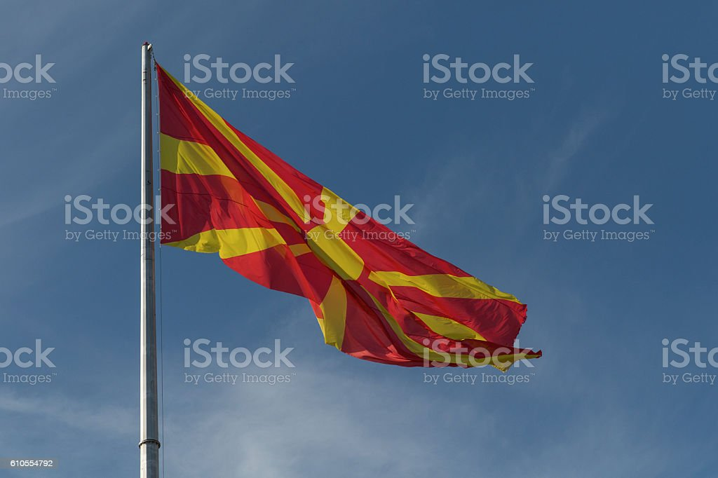 Republic of Macedonia flag on the mast stock photo