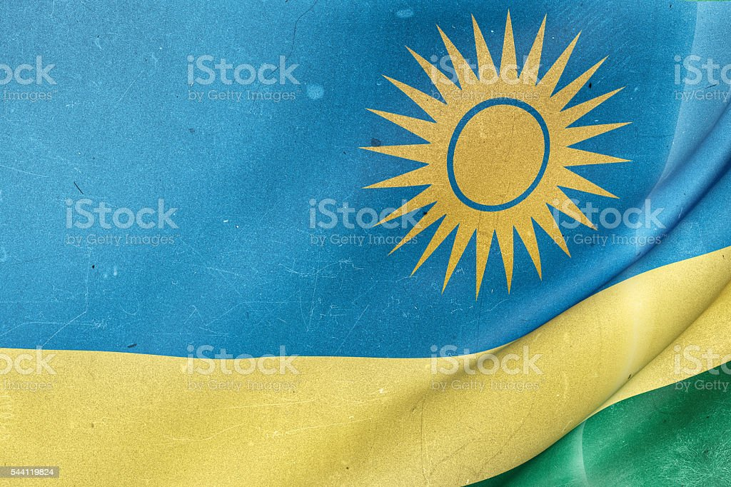 Republic of Rwanda flag waving stock photo
