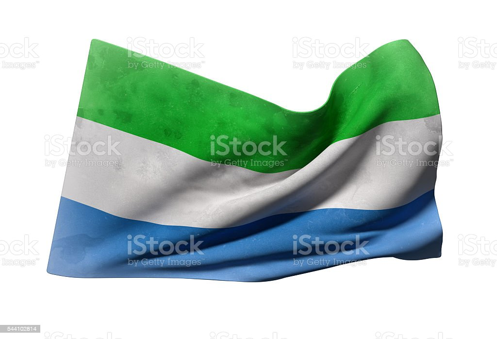 Republic of Sierra Leone flag waving stock photo