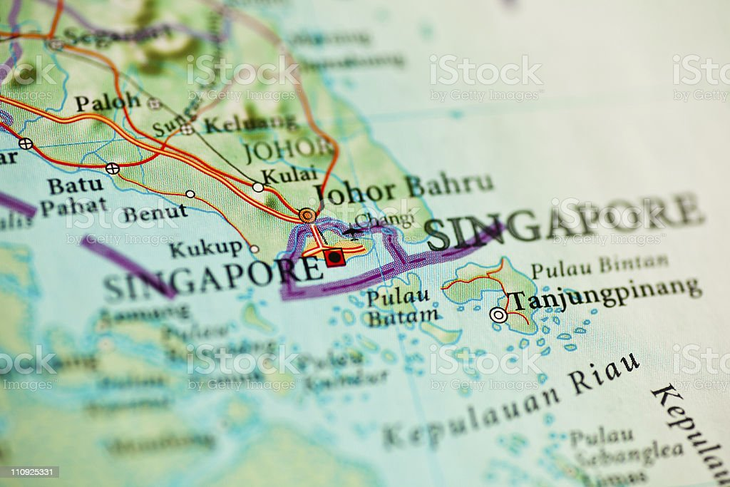 Republic of Singapore map royalty-free stock photo