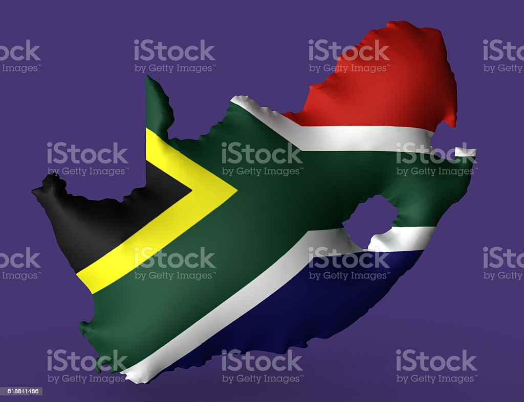 Republic of South Africa flag super embossed on map vector art illustration