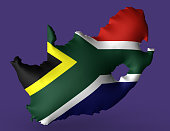 Republic of South Africa flag super embossed on map