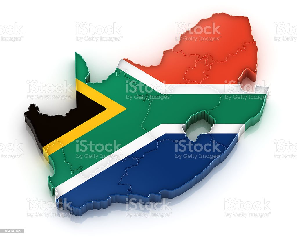 Republic of South Africa Map with Flag royalty-free stock photo