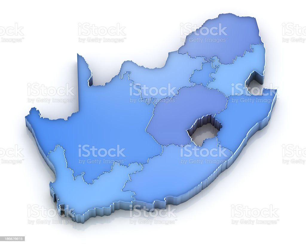 Republic of South Africa Map with Provinces stock photo