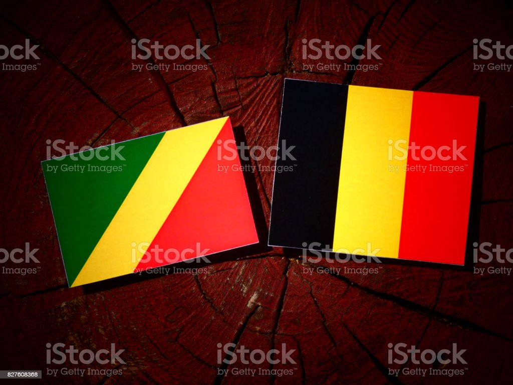 Republic of the Congo flag with Belgian flag on a tree stump isolated stock photo
