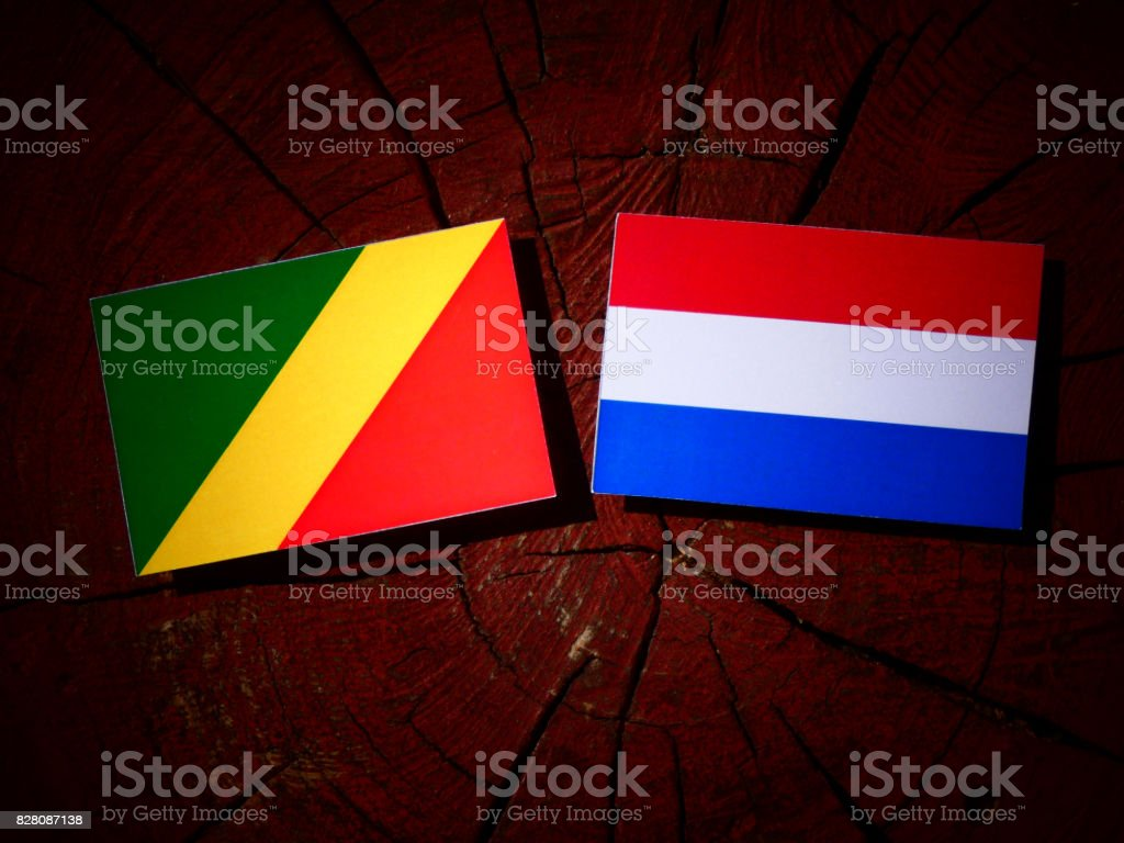 Republic of the Congo flag with Dutch flag on a tree stump isolated stock photo
