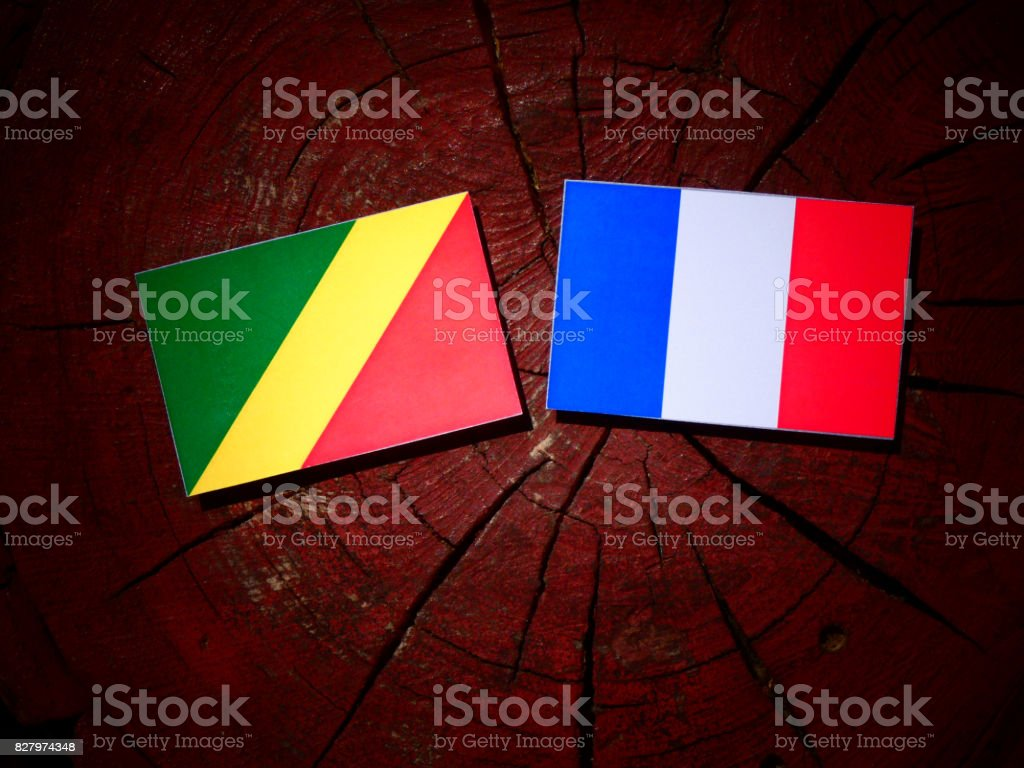 Republic of the Congo flag with French flag on a tree stump isolated stock photo
