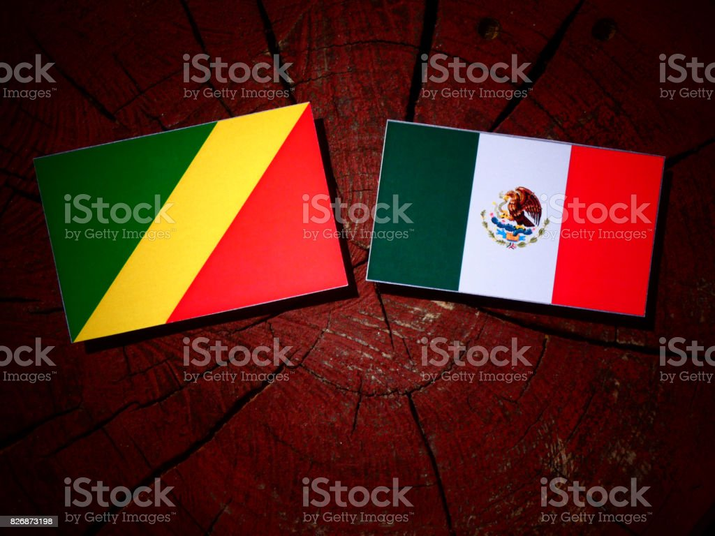 Republic of the Congo flag with Mexican flag on a tree stump isolated stock photo
