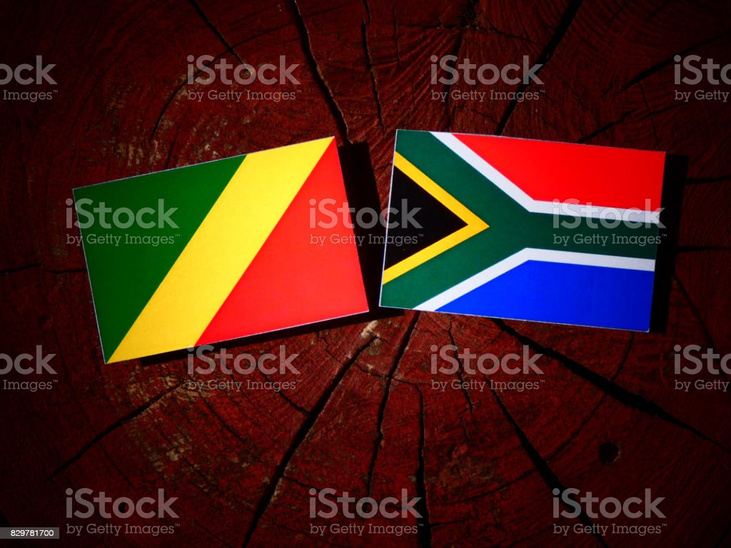 Republic of the Congo flag with South African flag on a tree stump isolated stock photo