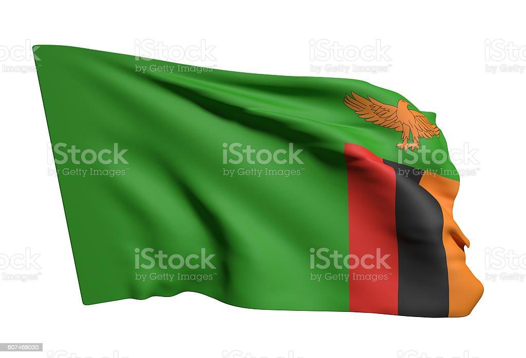 Republic of Zambia flag waving stock photo