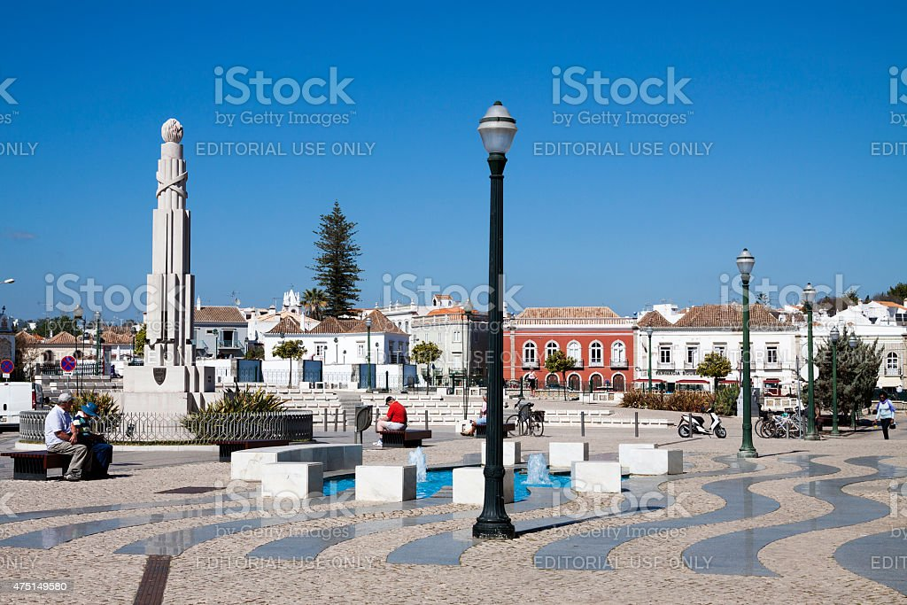 Republic square in Tavira Algarve Portugal stock photo