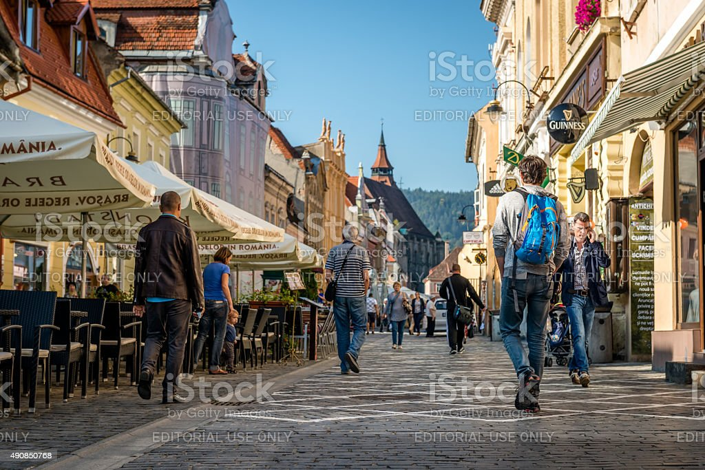 Republic street ( Strada Republicii ) in Brasov, Romania stock photo