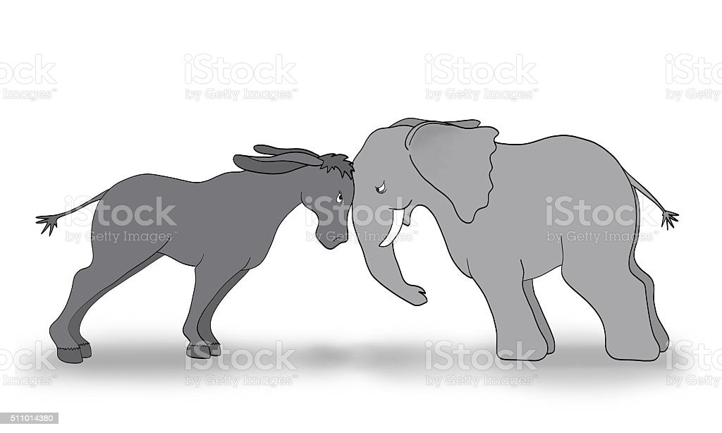 Republican Democrat Debate Illustration Gray Elephant Donkey Political Party Symbol stock photo